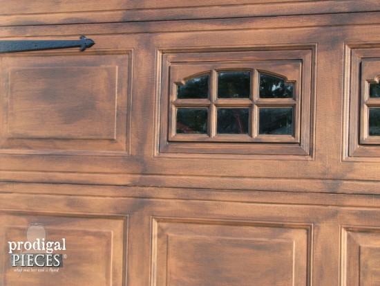 Faux wood garage door tutorial prodigal pieces for Wood looking garage doors