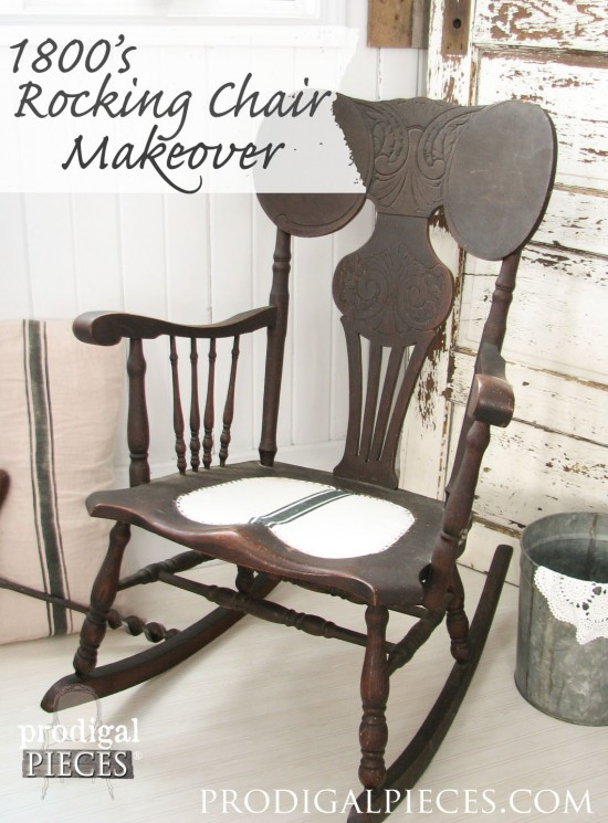 1800's Antique Rocking Chair Makeover with Grain Sack Seat by Prodigal Pieces | prodigalpieces.com