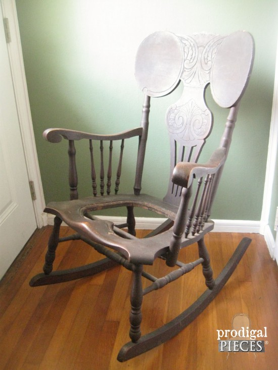 1800's Rocking Chair Makeover with Grain Sack Seat by Prodigal Pieces  www.prodigalpieces.com - Antique Rocking Chair ~ 1800's Redo - Prodigal Pieces