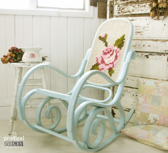 Vintage Bentwood Rocking Chair Gets Embroidered Makeover by Prodigal Pieces  www.prodigalpieces.com # - Rocker Found Curbside Turned Black Beauty - Prodigal Pieces