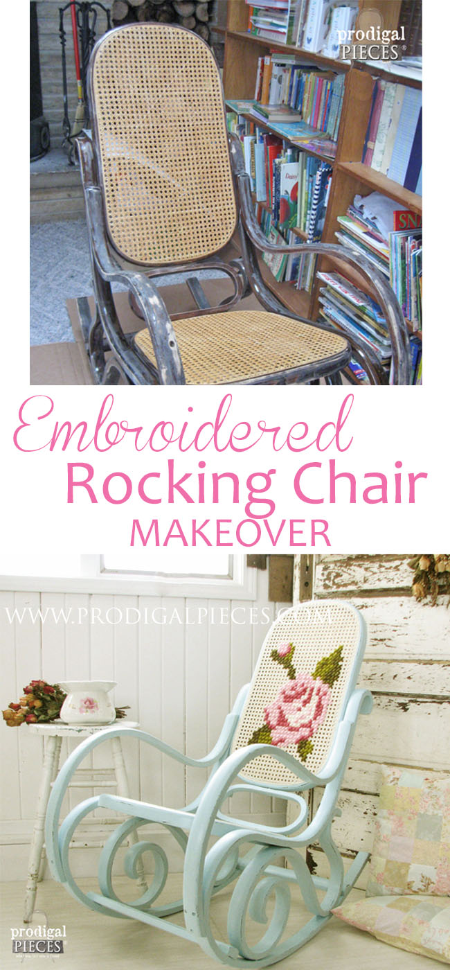 Vintage Bentwood Shabby Chic Rocking Chair Gets Embroidered Makeover by Prodigal Pieces | prodigalpieces.com