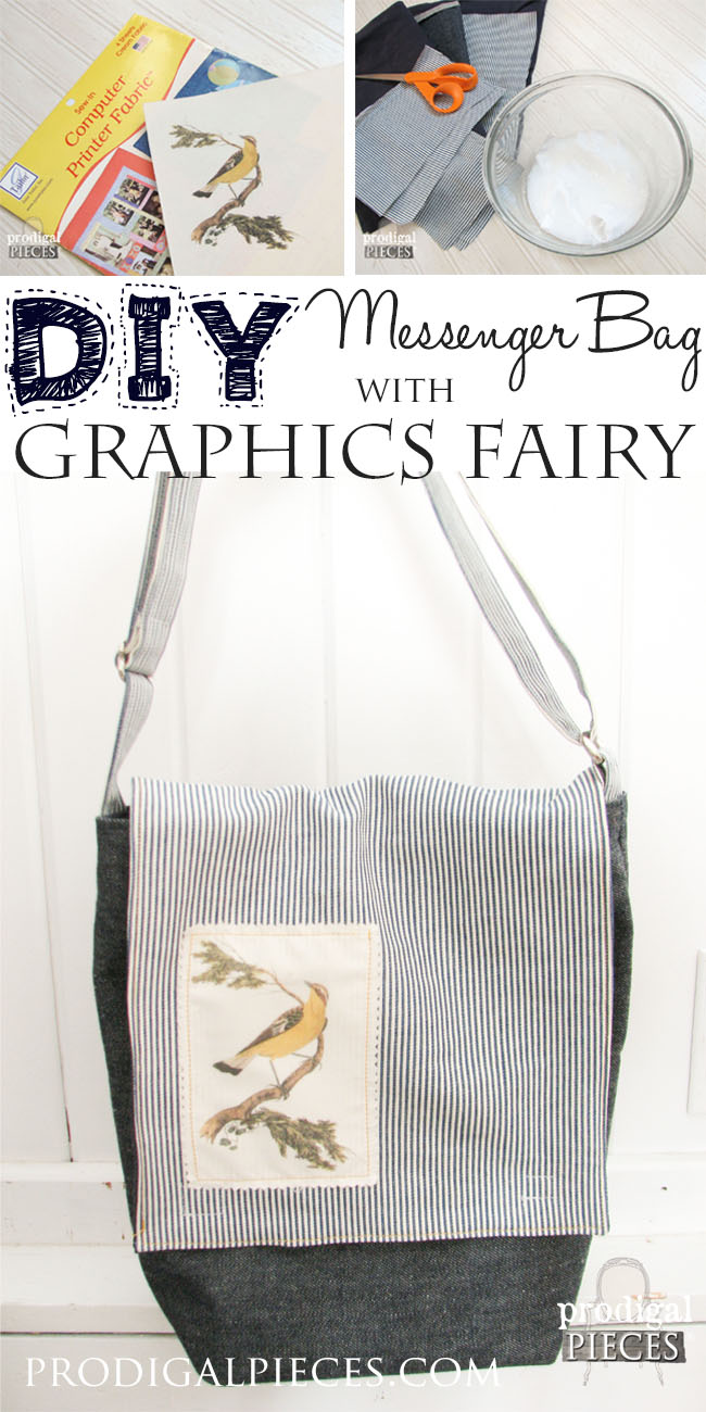 DIY Messenger Bag with Graphics Fairy Applique by Prodigal Pieces www.prodigalpieces.com #prodigalpieces