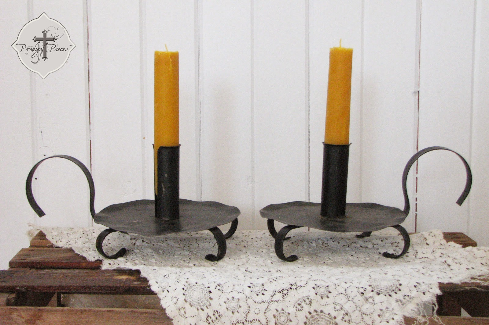 Set of Primitive Handmade Organic Beeswax Pillar Candles via Prodigal Pieces