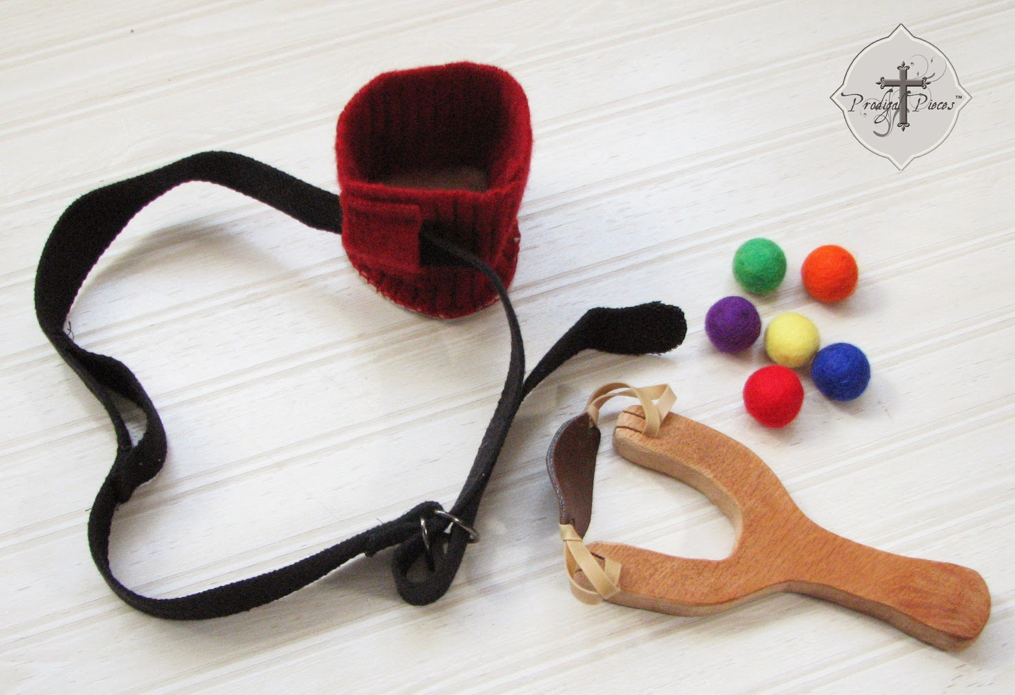 Handmade Wooden Slingshot with Felted Wool Balls & Holster via Prodigal Pieces