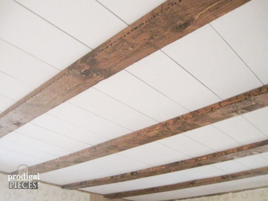 DIY Faux Farmhouse Barn Beam Ceiling by Prodigal Pieces www.prodigalpieces.com #prodigalpieces