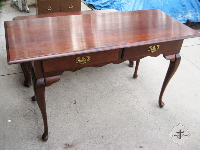 Queen Anne Library Table Before Makeover by Larissa of Prodigal Pieces | prodigalpieces.com