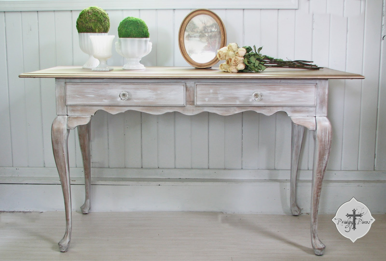 Vintage  Whitewashed Metallic Queen Anne Library Table by Larissa of Prodigal Pieces | prodigalpieces.com