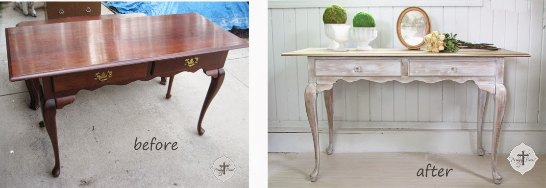 Before and After of Vintage Queen Anne Library Table by Larissa of Prodigal Pieces | prodigalpieces.com