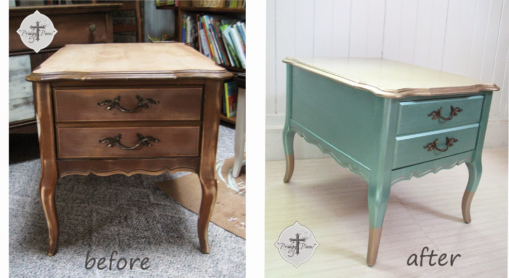 Before and After of Vintage Bassett End Table by Prodigal Pieces | prodigalpieces.com