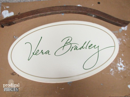 Repurposed Vera Bradly Sign & Antique Rocker | Prodigal Pieces www.prodigalpieces.com