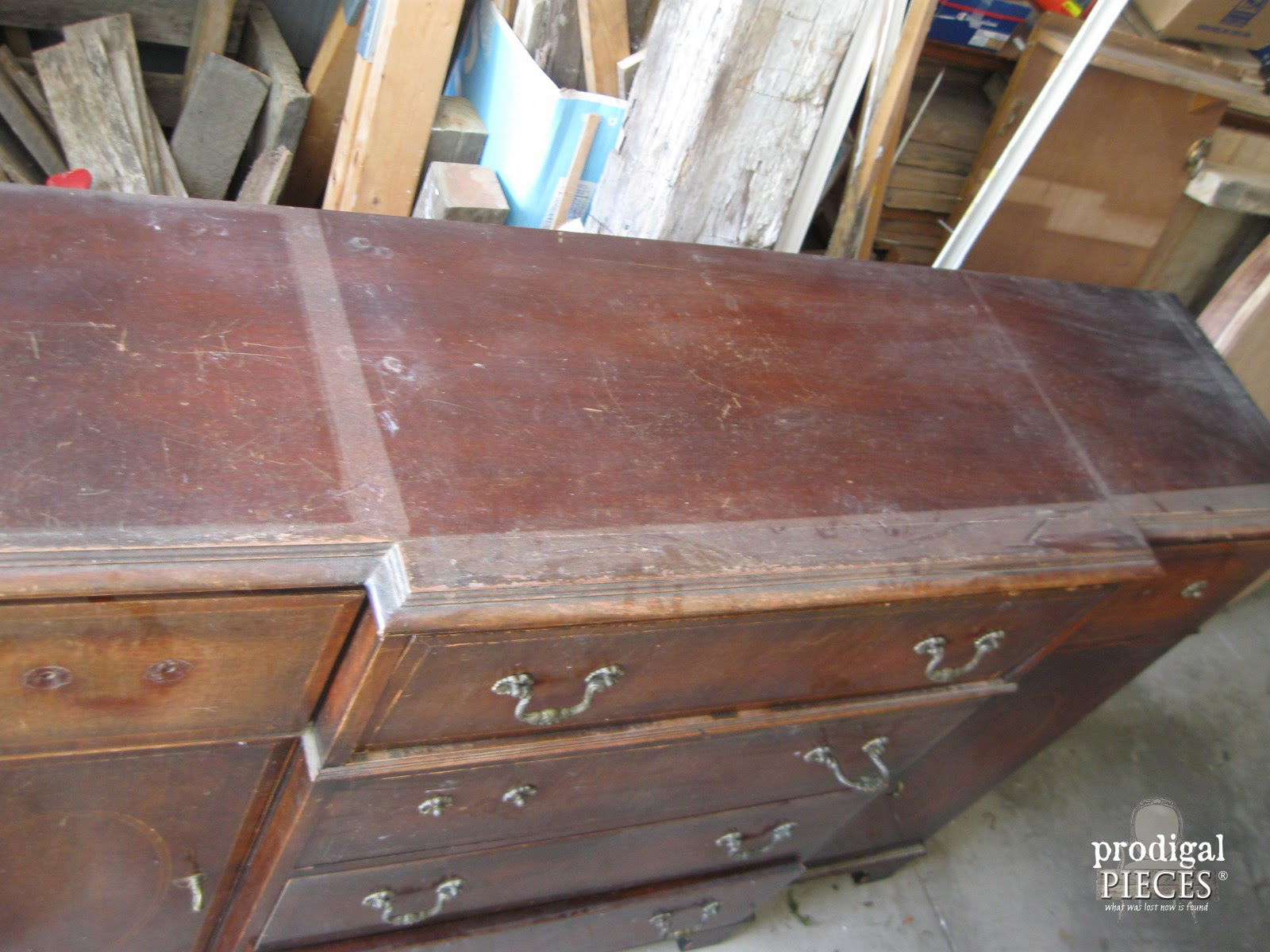 Damaged Vintage Bureau Top | Prodigal Pieces | www.prodigalpieces.com