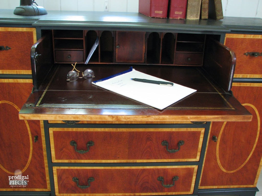 Refinished Vintage Bureau Open| Prodigal Pieces | www.prodigalpieces.com