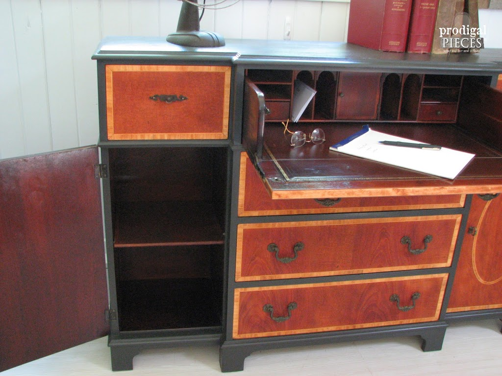 Side of Vintage Bureau Open | Prodigal Pieces | www.prodigalpieces.com
