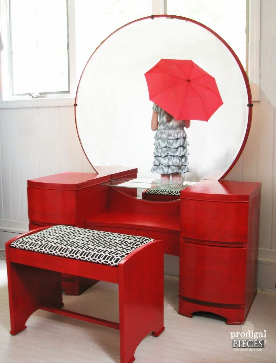 Vintage Art Deco dressing table gets a licorice stick red makover for a custom client. A fun twist to a classic piece! by Prodigal Pieces www.prodigalpieces.com #prodigalpieces