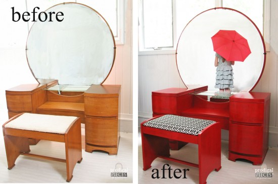 Vintage Art Deco Dressing Table Gets A Licorice Stick Red Makover For A  Custom Client.