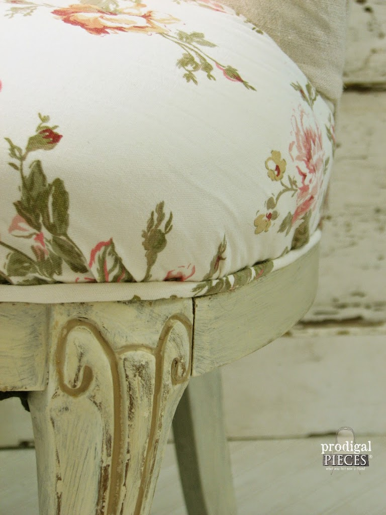 Outdated Upholstered Chair gets Linen & Rose French Makeover by Prodigal Pieces www.prodigalpieces.com