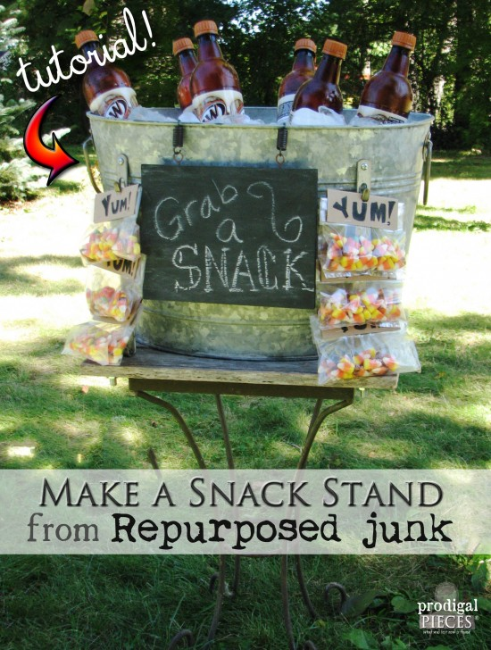 DIY Repurposed Snack & Beverage Stand Tutorial by Prodigal Pieces www.prodigalpieces.com #prodigalpieces