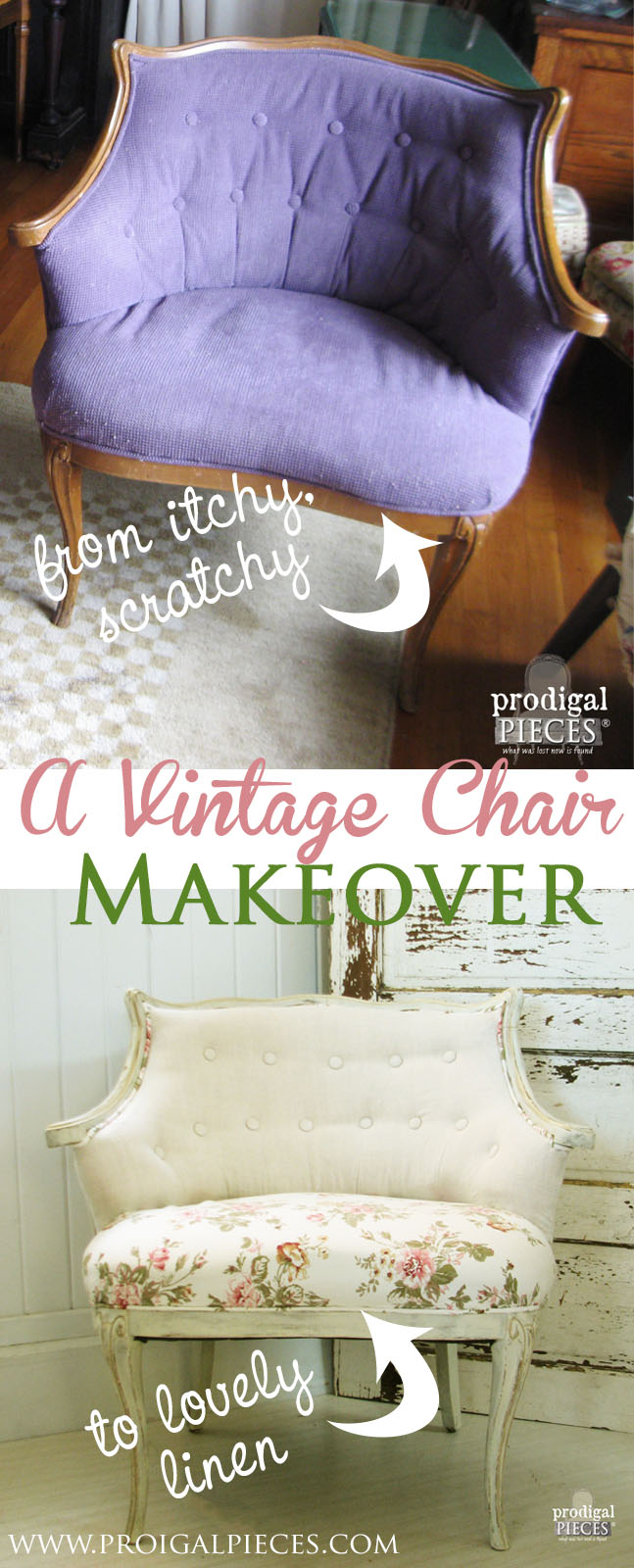Itchy Vintage Chair Gets Lovely Linen Makeover by Prodigal Pieces www.prodigalpieces.com #prodigalpieces