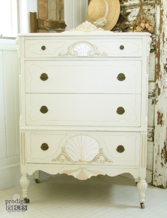 Worn out Art Deco carved chest of drawers gets a French makeover complete with jewels by Prodigal Pieces www.prodigalpieces.com #prodigalpieces