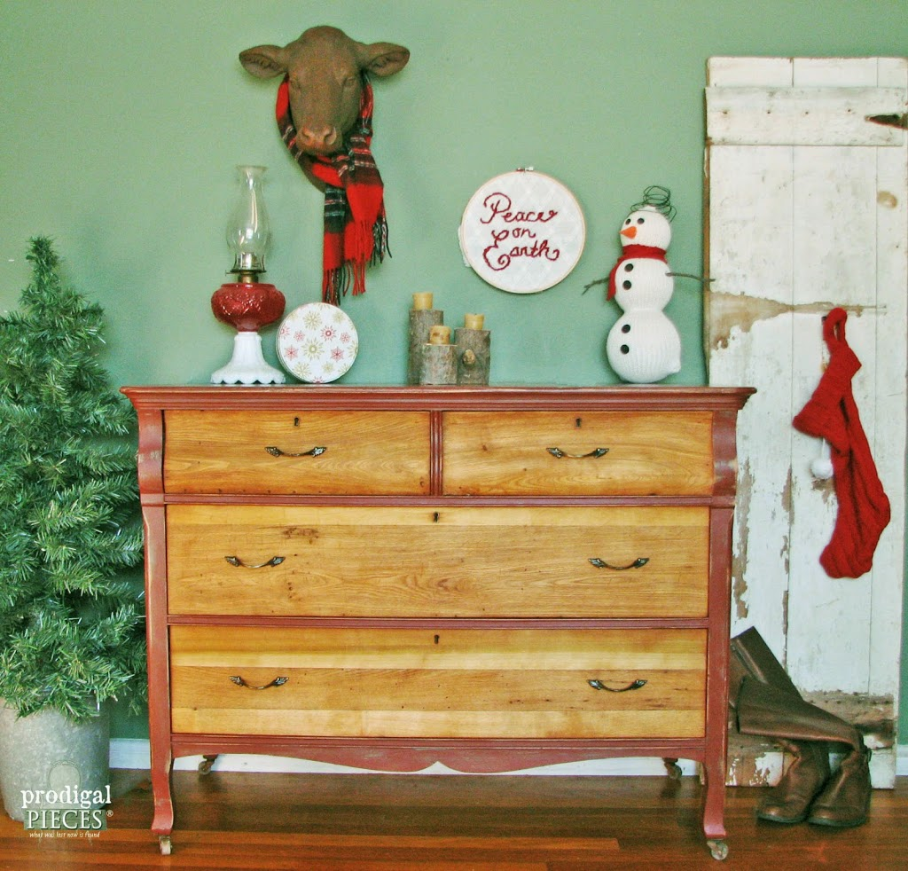 Themed Furniture Makeover Day ~ Rustic Red Farmhouse Cottage Chic Dresser by Prodigal Pieces www.prodigalpieces.com
