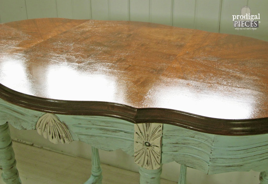 Corner of Aqua Blue Table | Prodigal Pieces | prodigalpieces.com