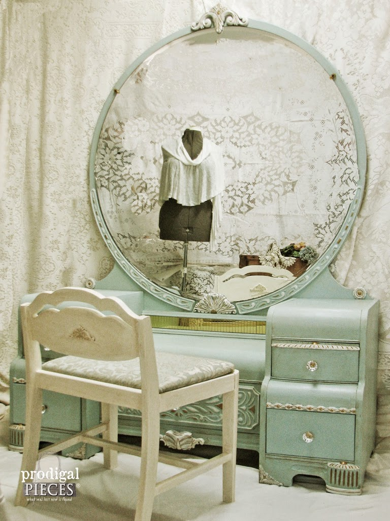 Antique Vintage Art Deco Waterfall Dressing Table Vanity Gets an Aqua Blue Facelift by Prodigal Pieces | prodigalpieces.com