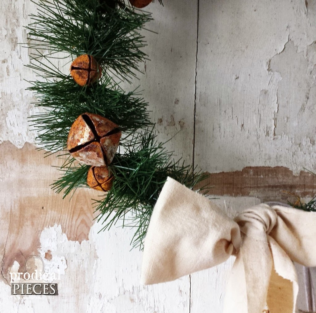 "Repurposed Christmas Crafting Rusty Bell Wreath with Feed Sack Bow & FREE Printable ""Jesus Is The Reason"" Banner by Prodigal Pieces www.prodigalpieces #prodigalpieces"