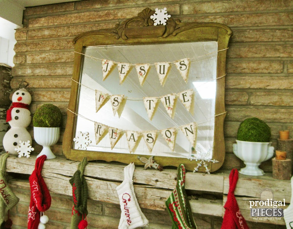 Antique Farmhouse Style Christmas Mantel with DIY Free Printable Bunting by Prodigal Pieces | prodigalpieces.com