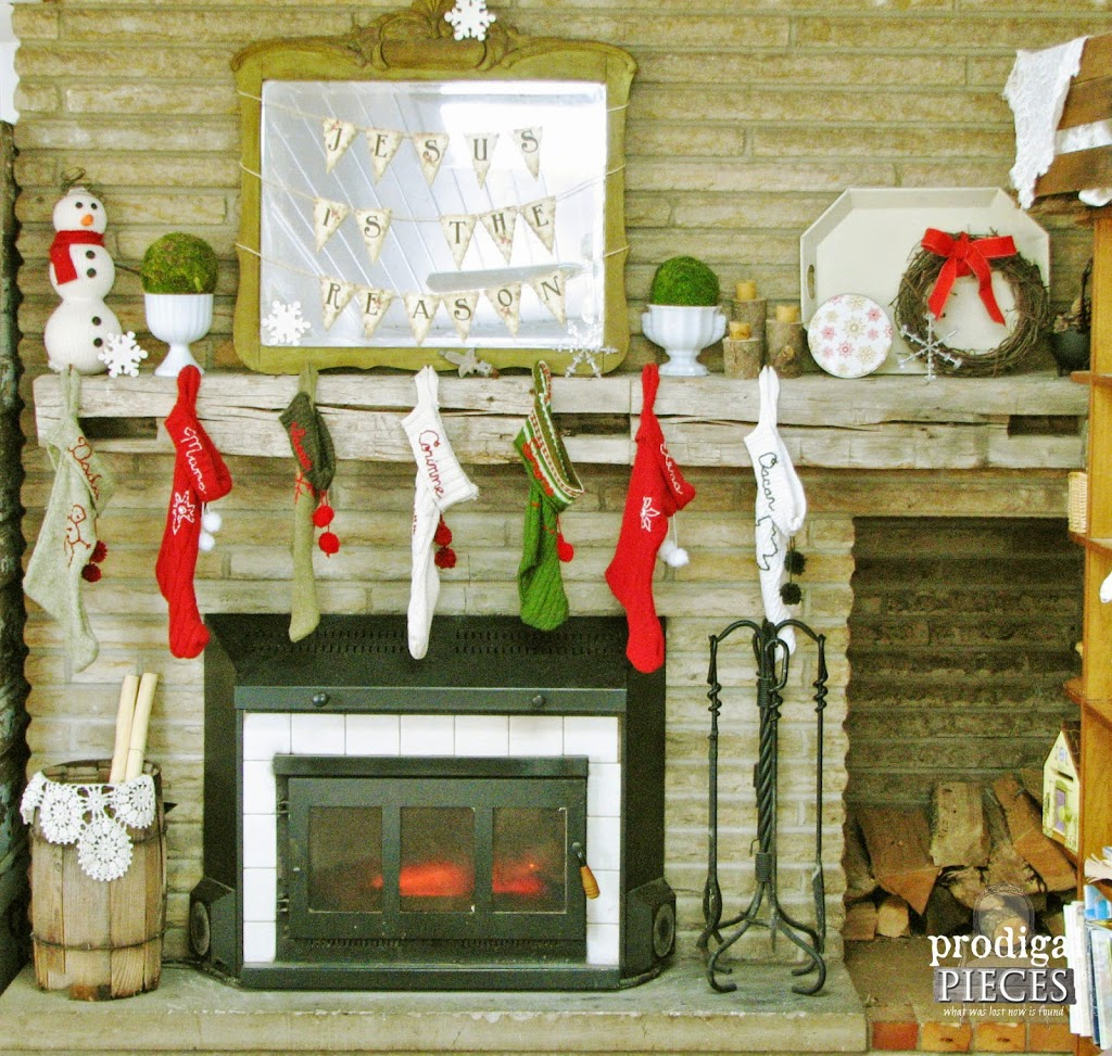 Farmhouse Style Christmas Mantel with Handmade Stockings by Larissa of Prodigal Pieces | prodigalpieces.com