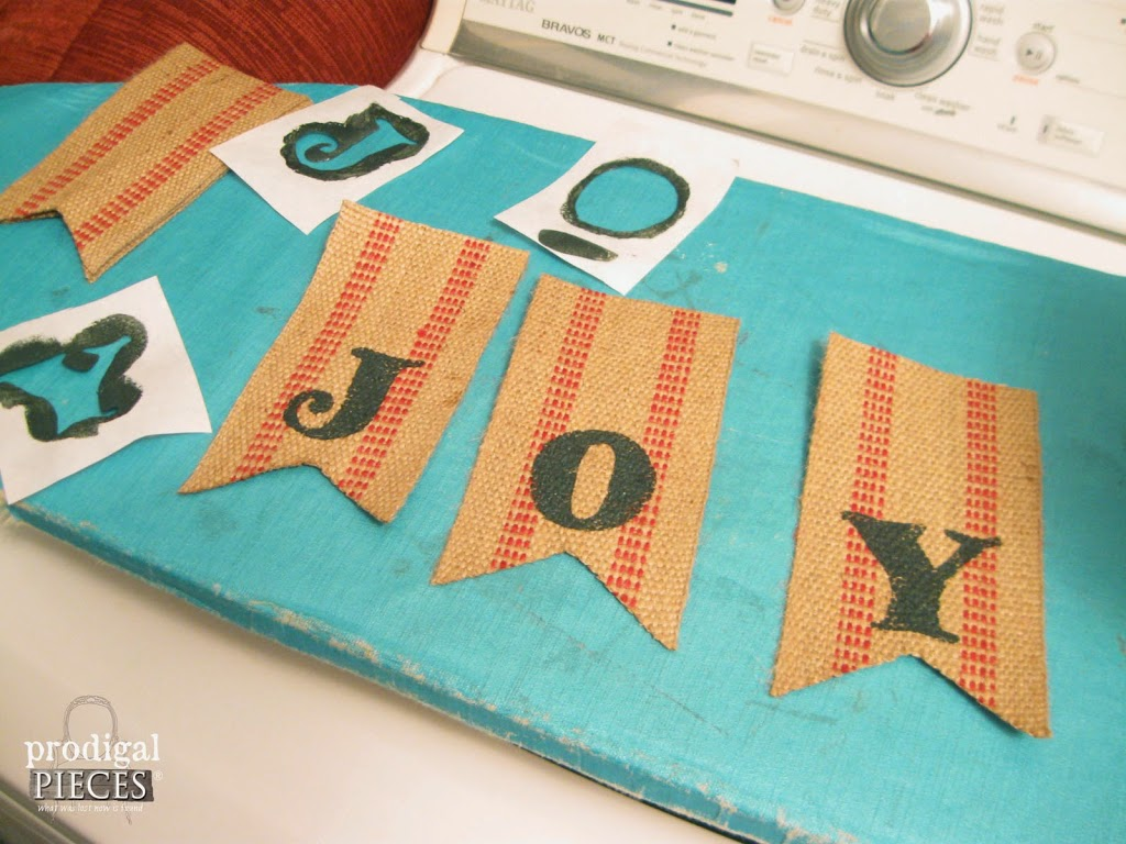 "Repurposed Christmas Crafting Rusty Bell Jute JOY Swag with Feed Sack Bow on Antique Window Screen & FREE Printable ""Jesus Is The Reason"" Banner by Prodigal Pieces www.prodigalpieces #prodigalpieces"
