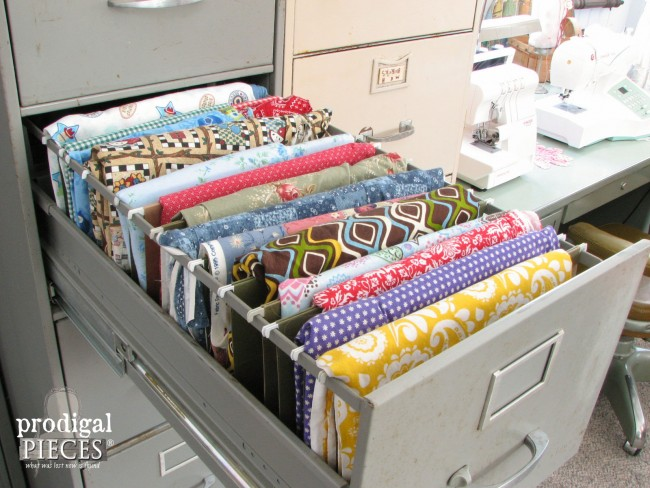 Repurposed Industrial Style Sewing Fabric Storage by Prodigal Pieces www.prodigalpieces.com #prodigalpieces