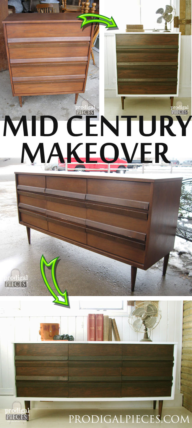 A set of Mid Century Modern furniture found at Goodwill, gets a facelift with a white cabinet and darkened drawers by Prodigal Pieces. www. prodigalpieces.com #prodigalpieces