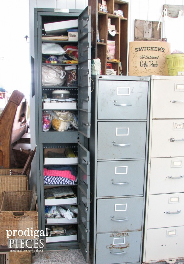 Repurposed Sewing Fabric Storage - Prodigal Pieces