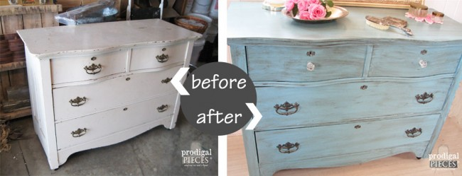 Antique Dresser Gets Blue for Baby Makeover by Prodigal Pieces  www.prodigalpieces.com # - Farmhouse Table Makeover With HomeRight Sprayer - Prodigal Pieces