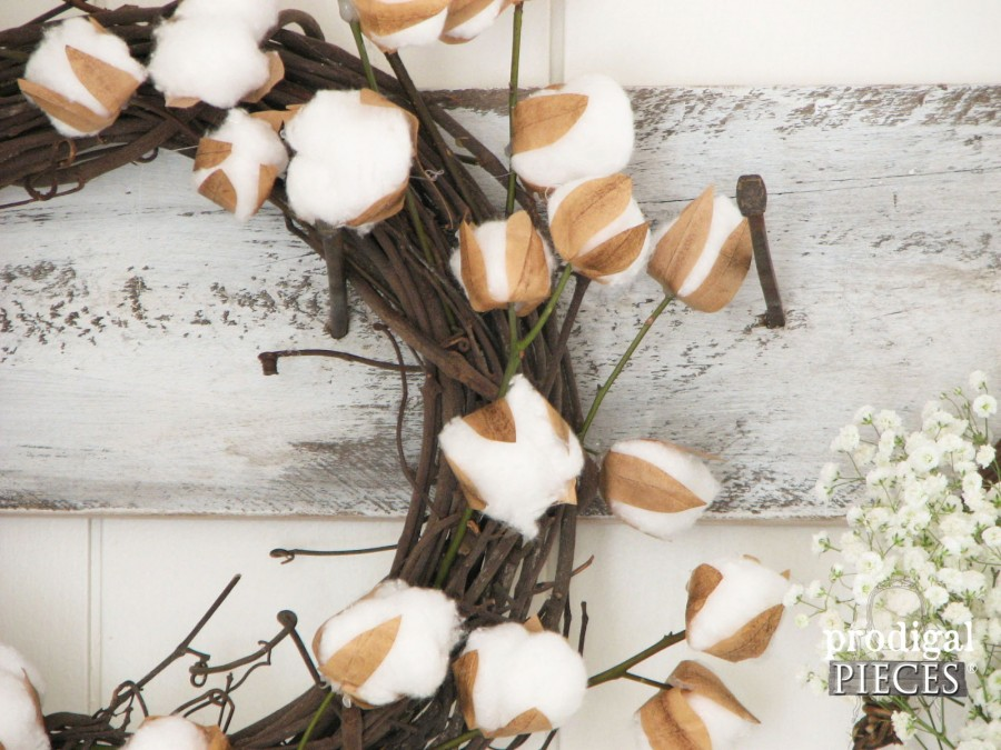 Cotton Branch Wreath Closeup by Prodigal Pieces | prodigalpieces.com
