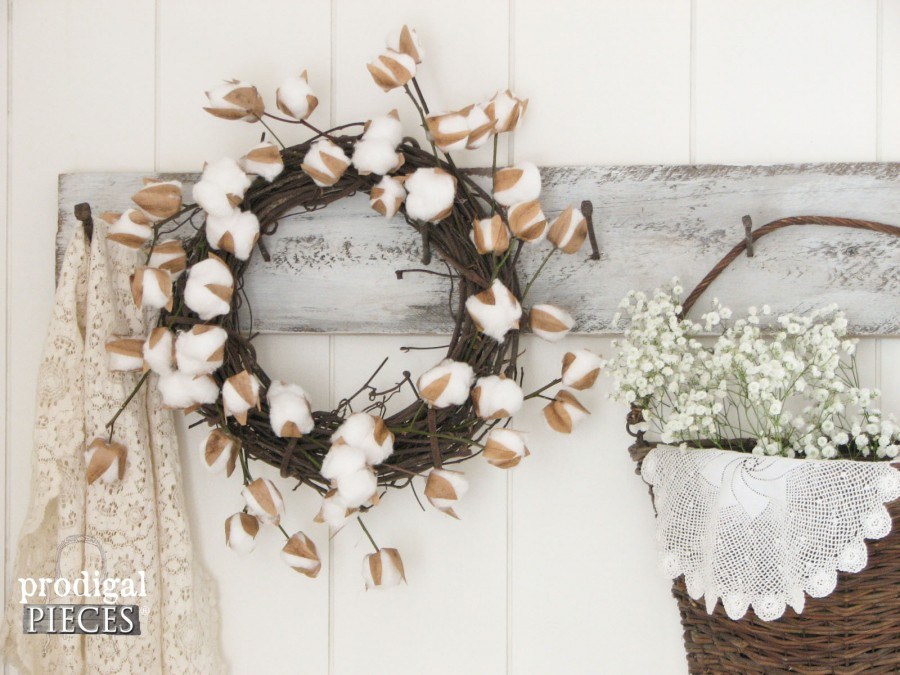 Rustic Farmhouse Wreath with DIY Cotton Stems by Prodigal Pieces | prodigalpieces.com
