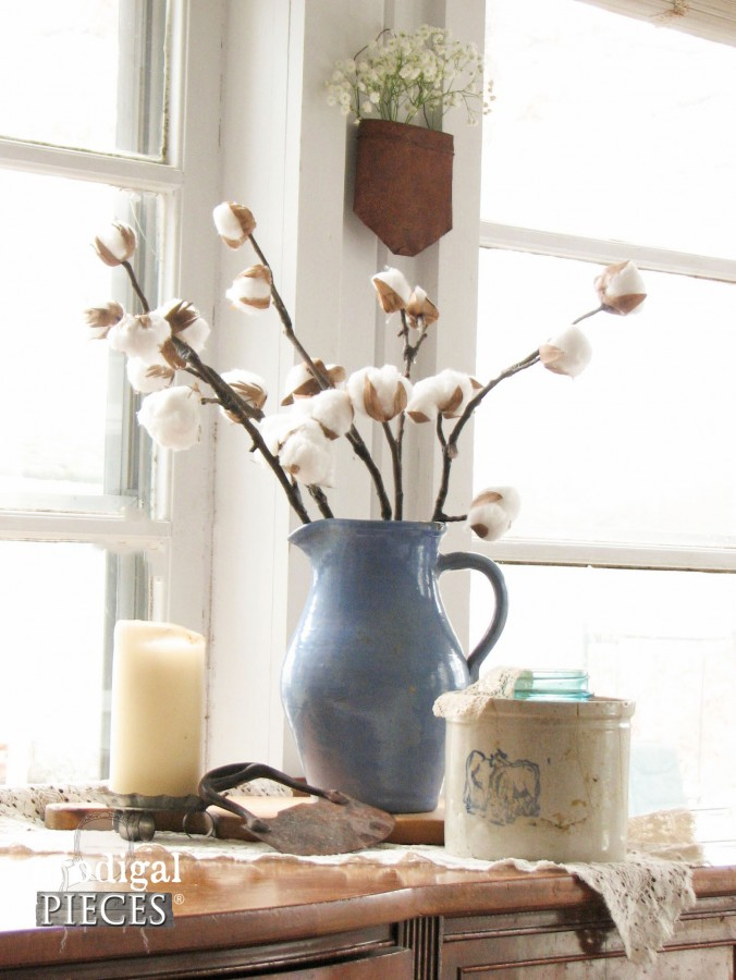 Blue Stoneware Pitcher with DIY Cotton Branches by Prodigal Pieces | prodigalpieces.com