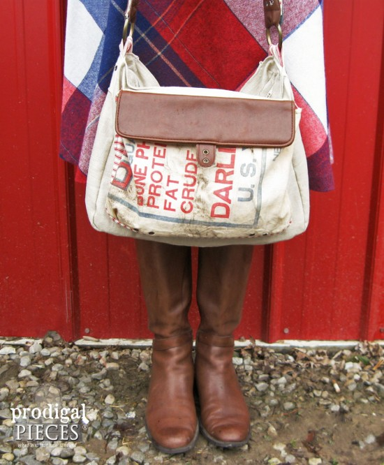 Handmade Feedsack, Linen, and Leather Purse by Prodigal Pieces www.prodigalpieces.com #prodigalpieces
