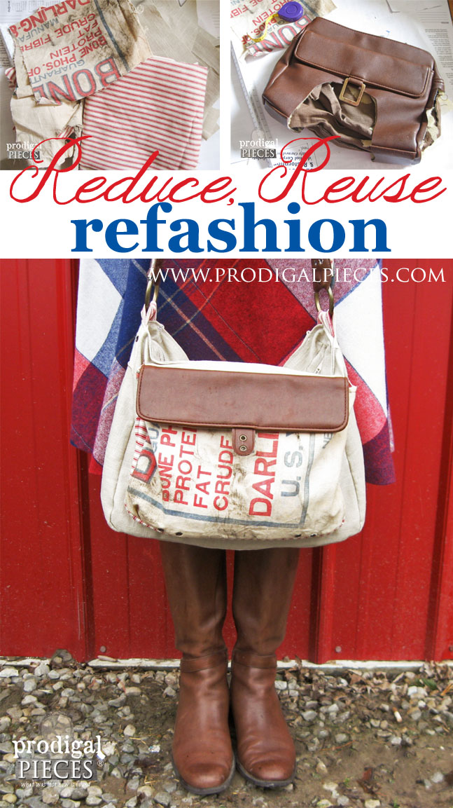 Handmade Feed Sack, Linen, and Leather Purse by Prodigal Pieces | www.prodigalpieces.com