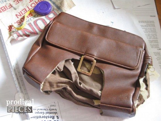 Linen, Leather, and Feedsack Purse by Prodigal Pieces www.prodigalpieces.com #prodigalpieces