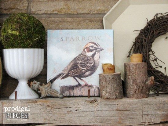 Sweet Farmhouse Sparrow Artwork by Darren Gygi + A Giveaway by Prodigal Pieces www.prodigalpieces.com #prodigalpieces