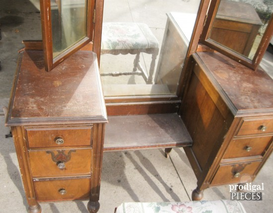 An Antique Vanity Transformation by Prodigal Pieces www.prodigalpieces.com  #prodigalpieces - Trifold Vanity Transformation ~ A Makeover To See - Prodigal Pieces