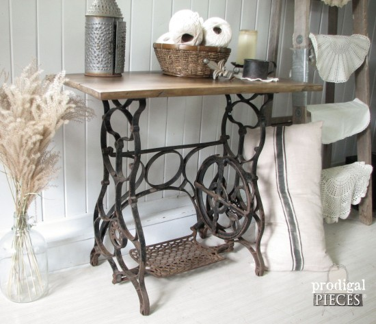 Antique Treadle Sewing Machine Repurposed with Early 1900's Barn Wood Using Weatherwood Stain by Prodigal Pieces www.prodigalpieces.com #prodigalpieces