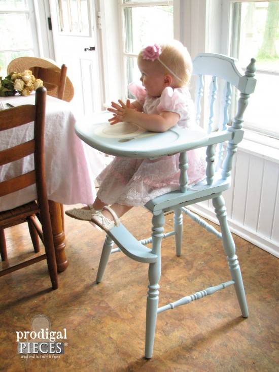 Aqua Blue Painted Highchair | Prodigal Pieces | www.prodigalpieces.com