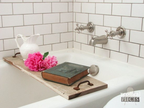 build a bathtub tray using reclaimed or new wood and repurposed materials with this diy tutorial - Bathroom Tray