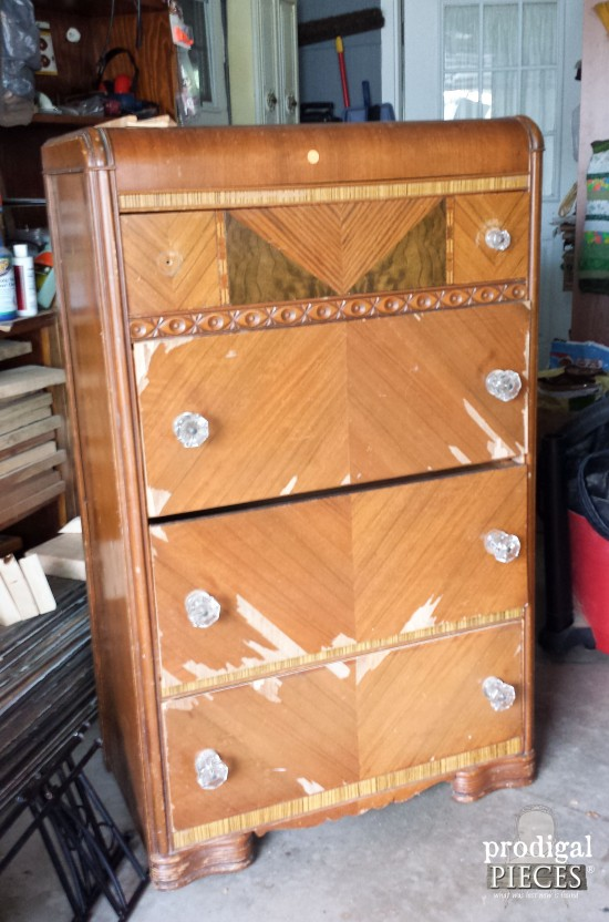 Art Deco Waterfall Chest of Drawers Before | Prodigal Pieces | www.prodigalpieces.com