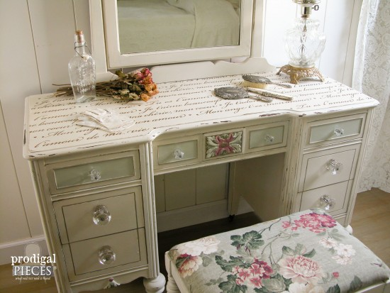 French Makeover to Antique Vanity | Prodigal Pieces | www.prodigalpieces.com - Antique Vanity Found Curbside To French Beauty - Prodigal Pieces