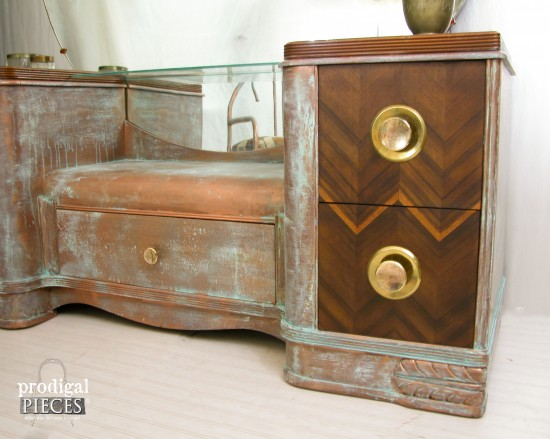 Worn out vintage Art Deco dressing table gets an industrial chic makeover with Modern Masters Metal Effects by Prodigal Pieces www.prodigalpieces.com #prodigalpieces