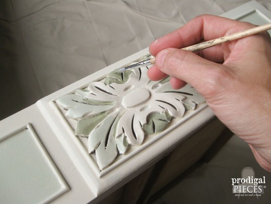 Highlighting Carved Accents of Antique Vanity with Paint | Prodigal Pieces | www.prodigalpieces.com