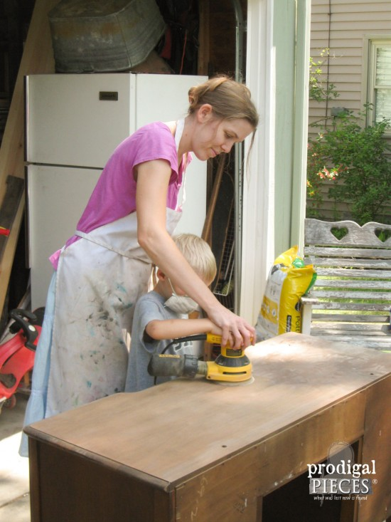 Mom and Son Refinishing Antique Vanity | Prodigal Pieces | www.prodigalpieces.com